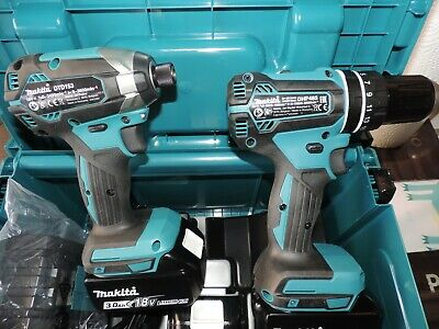 MAKITA 18V BRUSHLESS LI-ION LXT TWIN PACK DRILL & IMPACT And 3x 3Ah Batteries • 325£