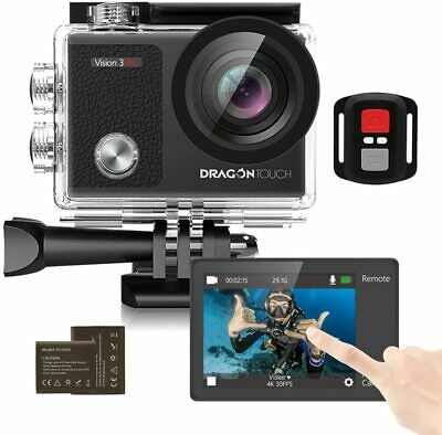Touch Screen Action Camera, 4K 16MP Underwater 100ft Waterproof  2 Batteries Acc • 35.99£