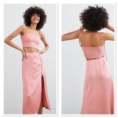 Zara Pink Polka Dot Co Ord Skirt With Slit And Crop Top BNWT Size Medium • 30£