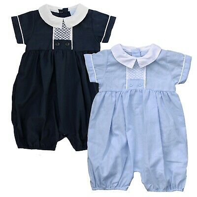 £10.99 • Buy Baby Boys Spanish Style Summer Smocked Romper Outfit Navy Blue 0-9M