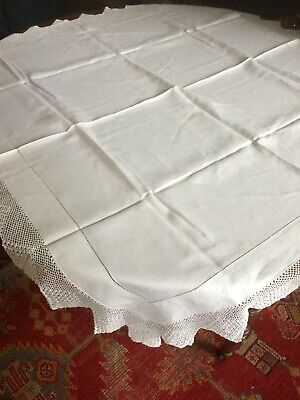 Antique/Vintage Lace-Edged White Tablecloth Approximately 46 X 48 Inches • 25£
