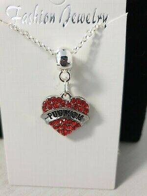 £2.99 • Buy Stunning Silver Tone Red Pug Mom Necklace.in Organza Bag