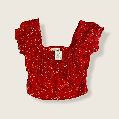 AU41.39 • Buy Urban Outfitters Crop Puff Sleeve Red Floral Retro Top Size L UK 12 NEW