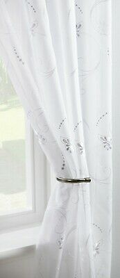 £7.99 • Buy CLEARANCE   Petal White  Single Voile Patterned Panels Slot Top - Free Postage