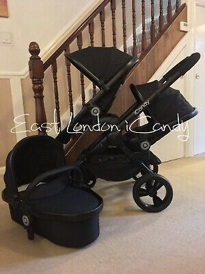 ICandy Peach 3 Jet Black Double Pram Pushchair Buggy • 500£