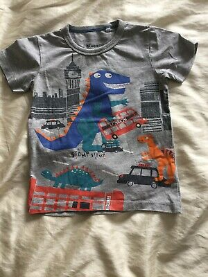 Debenhams Blue Zoo Grey T Shirt 3-4 Years Dinosaur Bus London • 3£