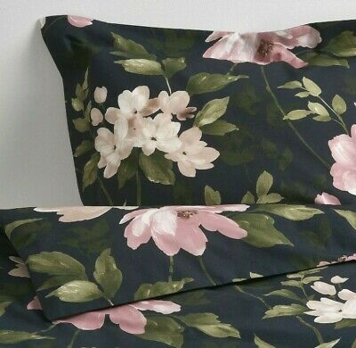 Ikea Blekfryle Full/Queen Duvet Cover W/2 Pillowcases Bed Floral Black Pink New  • 53.90£