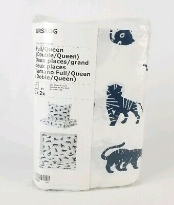 Urskog IKEA Duvet Cover And Pillowcases White & Blue Animals Tiger Double/Queen • 21.70£