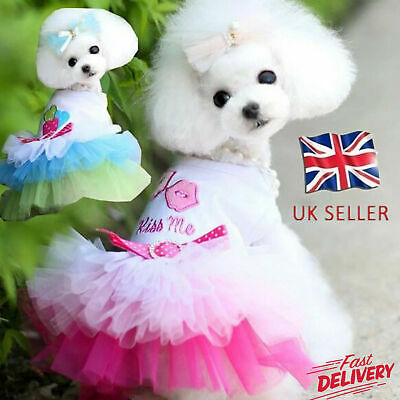 Pet Dog Dress Breathable Pattern Cotton Summer Dog Princess Skirt For Party UK • 6.73£