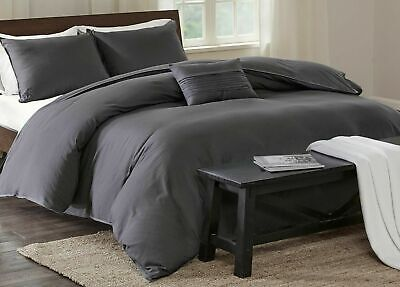 Best Comfort 100%Cotton 800TC Duvet Set+Fitted Sheet Elephant Grey Solid UK~SIZE • 72.99£