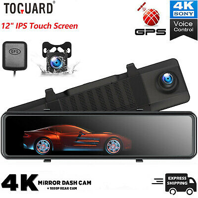 AU215.95 • Buy 12  Mirror Dash Cam 4K GPS Touch Screen Front Rearview Car Camera Voice Control