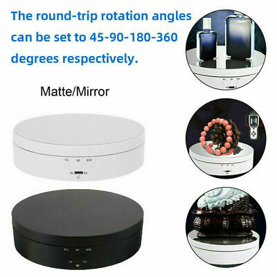 Round Mirror Top Electric 360° Turntable Rotating Jewelry Display Stand  UK