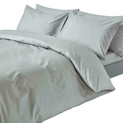 Soft Comfort 100%EgyptCotton 800TC ~Duvet Set+Fitted Sheet~ SILVER Solid UK~SIZE • 72.99£