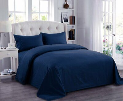 Softest ~Duvet Set+Fitted Sheet~100%EgyptCotton 800TC ~Navy Blue~ Solid UK~SIZE • 72.99£