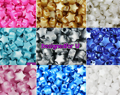 £2.85 • Buy *3 For 2* 50 Pearl Star Shape 13mm Pony Beads Top Quality Beads