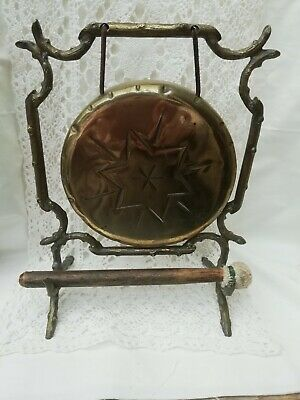 £65 • Buy Antique Art Nouveau Arts & Crafts Solid Brass Dinner Gong & Striker Faux Bamboo