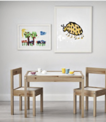 Ikea LATT Children Table With 2 Chairs Wooden Pine Wood Suitable For Small Room • 38.50£