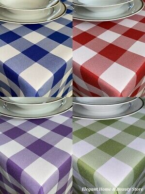 £8.95 • Buy GINGHAM Check Bi-Stretch Polyester TABLE CLOTH - Various Colours