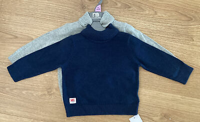 £5.99 • Buy Mothercare Baby Boys Girls Navy Grey Roll Polo Neck Jumper X2 6-9 Months New