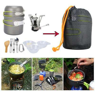 £16.99 • Buy Portable Camping Cookware Set Outdoor Picnic Hiking Cooking Equipment With Stove