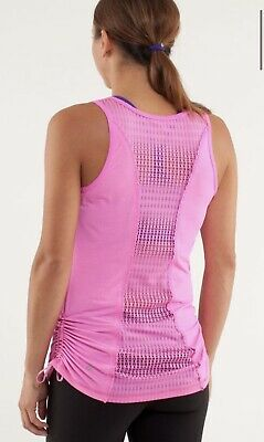 $ CDN7.61 • Buy Lululemon Size 8 - Tie And Fly Tank Top Pink Striped Mesh Back