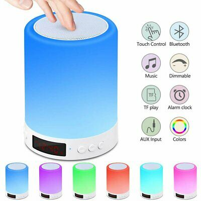 AU24.98 • Buy Bluetooth Speaker Lamp Touch Night Light Bedside Table Lamp With Alarm Clock FM