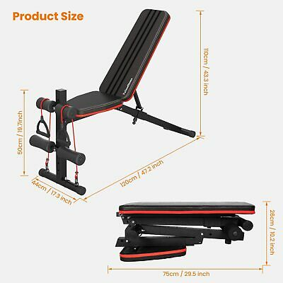 Weight Bench Adjustable, Full Body Exercise Folding Fitness Workout Bench With 7 • 175£