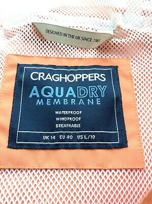 Craghoppers Womens Waterproof Jacket Size 14 Soft Orange Breathable Flattering • 2.10£