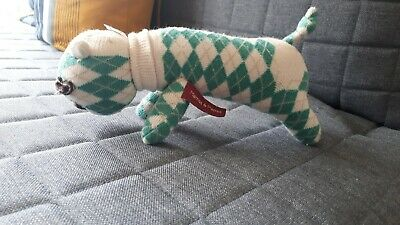 Mamas And Papas Sock Dog Teddy Toy Ivory And Green 15cm • 2.20£