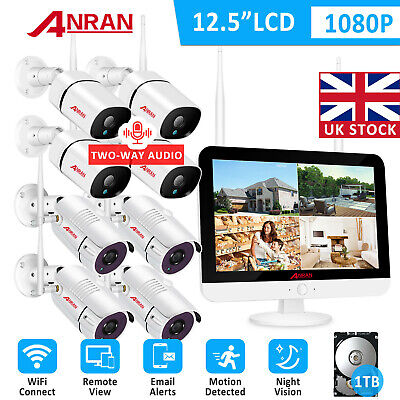 Audio Home Security Camera System Outdoor 8CH 12 Monitor 1080P 1TB HDD Audio Kit • 419.99£