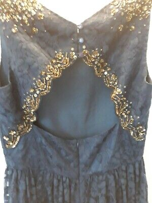 MONSOON Girls Navy Lace Dress Age 14 Storm High Low Gorgeous Detailed Back • 22£