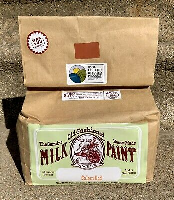 $70 • Buy ONE BAG GENIUNE OLD-FASHIONED HOME-MADE MILK PAINT 48 Oz Powder SALEM RED 1 Gal