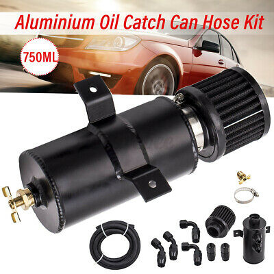 $70.97 • Buy 0.75L Baffled Motor Engine Oil Catch Can With Hose Kit Set AN10 Aluminum
