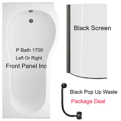 P Shape Shower Bath 1700mm With Black Screen & Front Panel & BLACK Waste LH/RH  • 270£