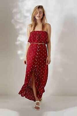 £29 • Buy Urban Outfitters Luni Polka Dot Maxi Skirt Red NEW Size L