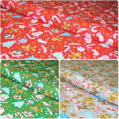 £4 • Buy Festive Candy Tree Gingerman Snowflakes Christmas Printed Poly Cotton Fabric 45