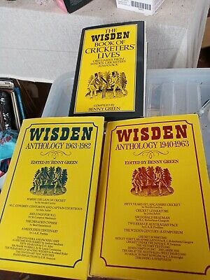 £9 • Buy 3 X Wisden Anthology 1940-63 1963-82 And Cricketers Lives Hardbacks Green