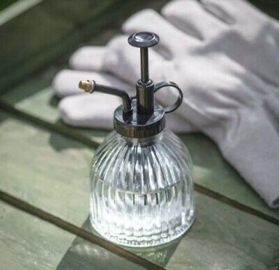 £9 • Buy Chunky Round Clear Glass Plant Mister, Vintage Flower Water Spray Bottle Brass