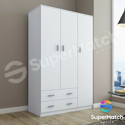 AU349.59 • Buy White Wooden Wardrobe 3 Doors 2 Drawers Bedroom Clothes Cupboard Cabinet 180CM