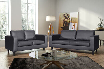 Box Leather Sofa Black Brown Grey 3 Piece Suite Landlord Student Living Room • 499.99£