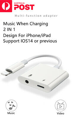 AU7.49 • Buy For IPhone/iPad/Apple To 3.5mm AUX Headphone Adapter Cable Splitter 2 In 1