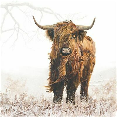 £2.50 • Buy 5 Paper Party Napkins Highlander COW Pack Of 5 3 Ply Tissue Serviettes Animals