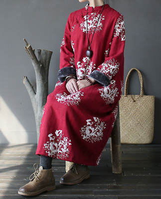 $ CDN65.17 • Buy Womens Warm Floral Buttons Long Chinese Qipao Dress Loose Fit Winter Coat Casual