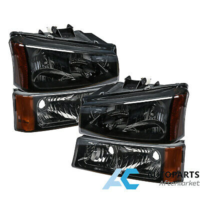 $69.99 • Buy For 03-06 Chevy Silverado Headlight Bumper Signal Lamp Smoked Lens Amber Corner