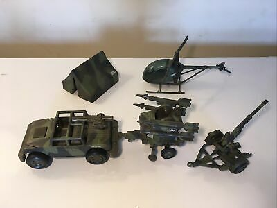 $20 • Buy New Ray Vintage Military Toy Playset 1995 Helicoptor 2000 Hummer With Tow Behind