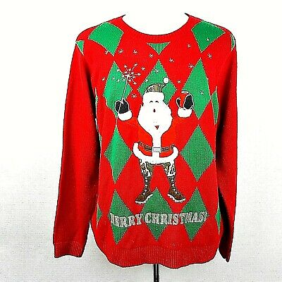 $17.95 • Buy Jolly Sweaters Ugly Christmas Sweater Holiday Camouflage Santa Red Green Mens XL