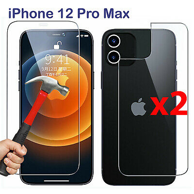 AU10.99 • Buy X2 Tempered Glass Screen Protector For Apple IPhone 12 PRO MAX Front + Film Back