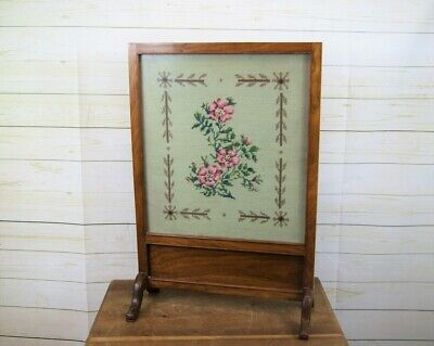 £68 • Buy Vintage Art Deco Wooden Glazed Fire Screen With Embroidered Floral Tapestry