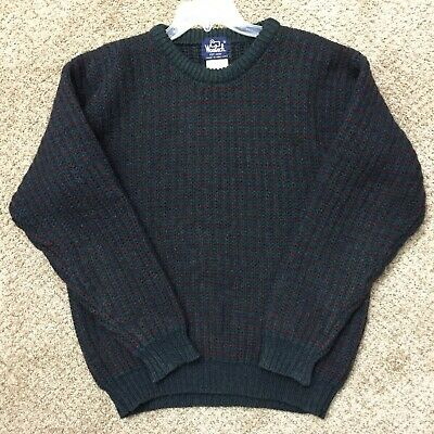 $28 • Buy Woolrich Mens Large Blue/Green/Red Knit Crew Neck Long Sleeve Wool Sweater