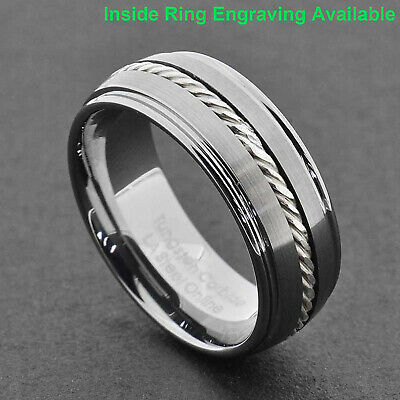 $13.59 • Buy 8mm Tungsten Carbide Band Silver Cable Ring Mens Wedding Jewelry Step Edge